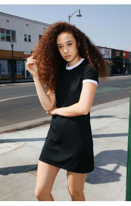 AARSABB3274 WOMEN'S POLY-COTTON RINGER T-SHIRT DRESS