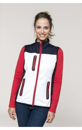 KA418 LADIES' TRI-COLOUR SOFTSHELL BODYWARMER