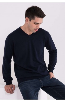 LW9133 MEN'S V-NECK FINE GAUGE COTTON PULLOVER
