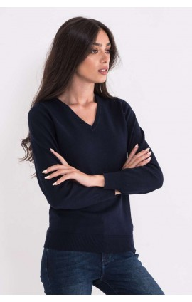 LWL9133 LADIES' V-NECK FINE GAUGE COTTON PULLOVER