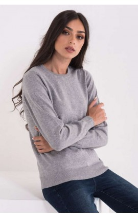 LWL9188 LADIES' CREW NECK FINE GAUGE COTTON PULLOVER