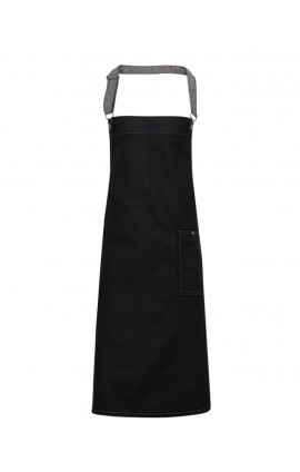PR134 'DISTRICT' WAXED LOOK DENIM BIB APRON
