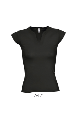 SO11165 MINT - WOMEN'S CURVED V-NECK T-SHIRT WITH CAP SLEEVES