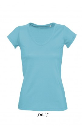 SO11387 MILD WOMEN'S V-NECK ROLLED AND RAW-CUT FINISHED T-SHIRT