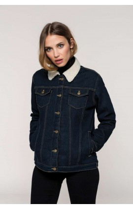 KA6139 LADIES' SHERPA-LINED DENIM JACKET