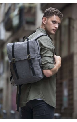 KI0143 FLAP-TOP CANVAS BACKPACK