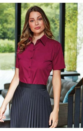 PR302 LADIES' SHORT SLEEVE POPLIN BLOUSE